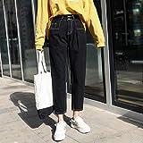 YSDSBM Jeans Mujeres Cintura Alta Pantalones hasta el Tobillo Pantalones Vaqueros Rectos Harajuku Mujeres Vintage Loose Streetwear Casual Estudiantes