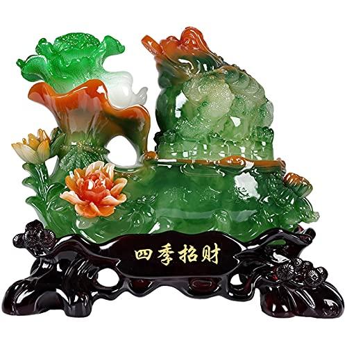 statua Estatua De Sapo De Feng Shui, Col De Jade De La Suerte, Sapo Dorado, Decoración, Tienda, Cajero, Apertura, Regalo, Sala De Estar, Gabinete De Vino, Gabinete De TV ( Size : 40*23*36cm )