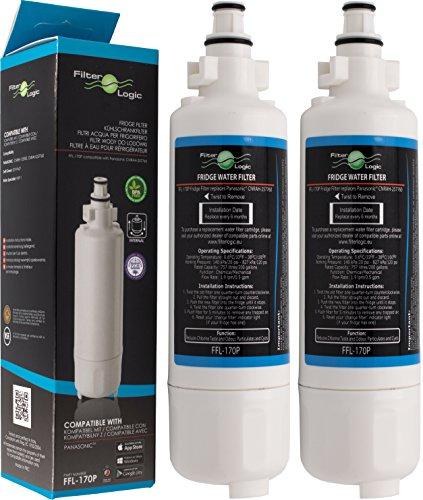 Filterlogic FFL-170P | Wasserfilter kompatibel mit Panasonic CNRAH-257760 und CNRBH-125950 Filterpatrone für SBS Kühlschrank Gefrierkombination NR-B53, NR-B54, NR-BS53 (2er Pack)