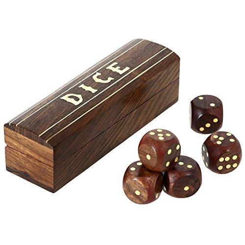 Indische Spiel Hölzernen Würfel Inmitten Einer Art Box Messing Intarsien 13 X 4 Cm