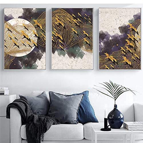 NFXOC (Impresiones de Arte Giclee) Paisaje Abstracto Moderno Acuarela Pintura de Lienzo nórdica Impresión de Pared Cartel de Red de Aves Decoración de Fondo (50x70cm) 3 Piezas Sin Marco