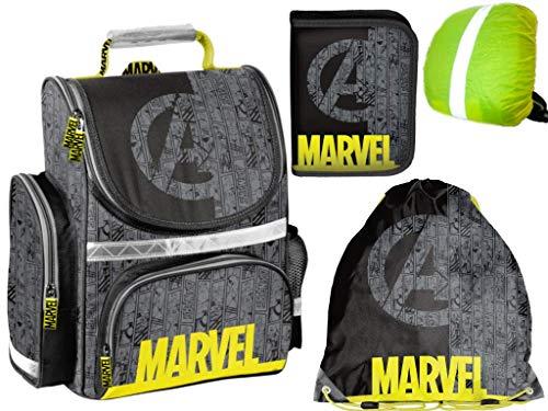 Marvel Avengers Rucksack Ranzen gefüllt Federmappe Turnbeutel Regenhülle 4Teile Set neu