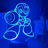 XLLQYY 3D Illusion Light Led Night Light Game Mega Man Figure Rockman Lámpara de Mesa de la mesita de Noche Sensor Táctil Hogar Decorativo Niños Niños Niños S Cumpleaños Regalos