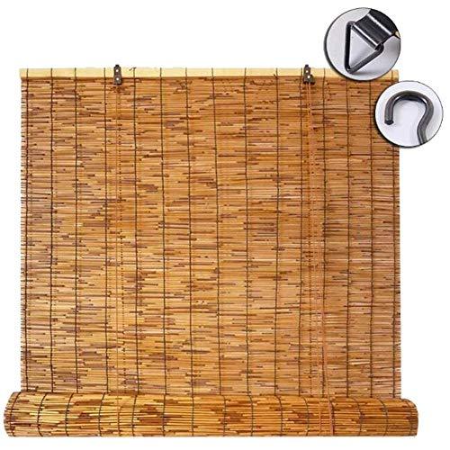 WYCD Bambusrollo - NatürlicheReed Vorhang Rollo für Fenster/Türen, Schattierungen/Trennwände, Anpassbar (24x47in)