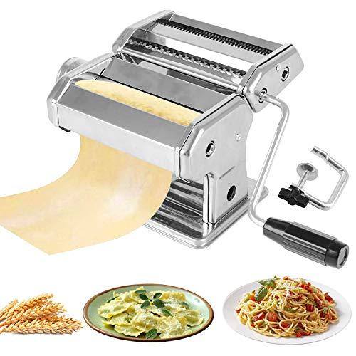 Macchina per Pasta Manuale con Manovella Sfogliatrice, Macchina per La Pasta Acciaio Inossidabile 430 8 gradi di regolazione per Tagliatelle/Spaghetti/Lasagna/Ravioli (Argento)