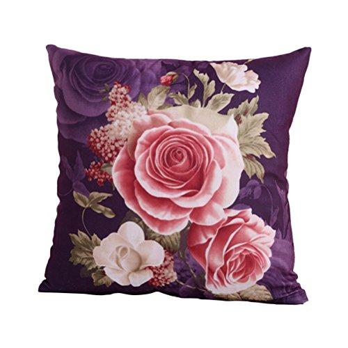WINOMO Housse de coussin 45 x 45 cm Pivoine Coussin décoratif Canapé Salon Chambre à coucher Fleurs Housses avec fermeture éclair Violet