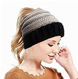 Sombrero de Piel Sombrero de Punto de Cola de Caballo Sombrero de Invierno para Mujeres Gorros Sombrero de otoño Sombrero de Cola de Caballo para niña 2020 Nuevo-Black-Gray