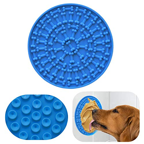 RYPET Pad for Dog Lick - Dog Washing Distraction Device, Slow Eating Dog Mat with Super Suction for Pet Bathing, Grooming, and Dog Training Blue
