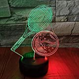 Raquette de tennis 3D Veilleuse Visuelle Creative Sept Couleurs Tactile De Charge Led Stéréo 3D Luminaires USB Led Enfants Lampe