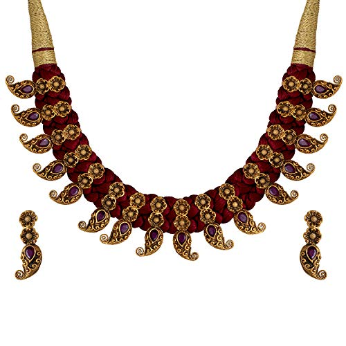 Aheli South Indian Style Floral Design Crafted Necklace Earrings Set Traditional Wedding Wear Temple Jewelry for Women