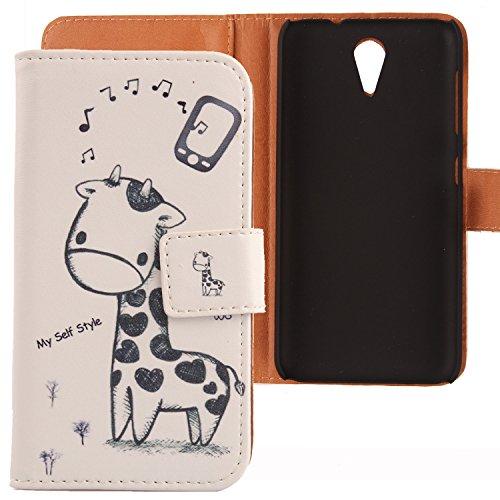 Lankashi PU Flip Leder Tasche Hülle Hülle Cover Schutz Handy Etui Skin Für HTC Desire 620 620G / 820 Mini Giraffe Design
