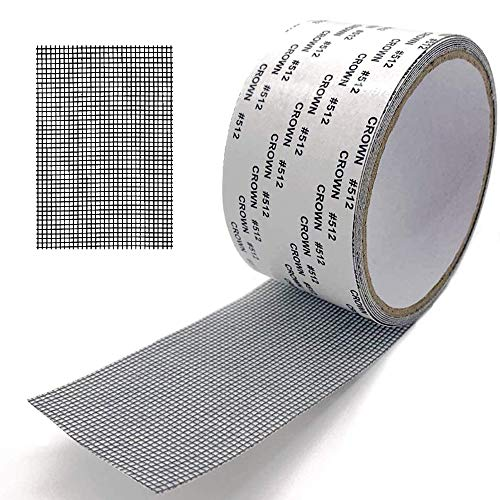 Cinta para Reparar mosquiteras Fibra de Vidrio Cinta Adhesiva para Evitar Insectos de Mosquitos, 5cm x 200cm (Negro)