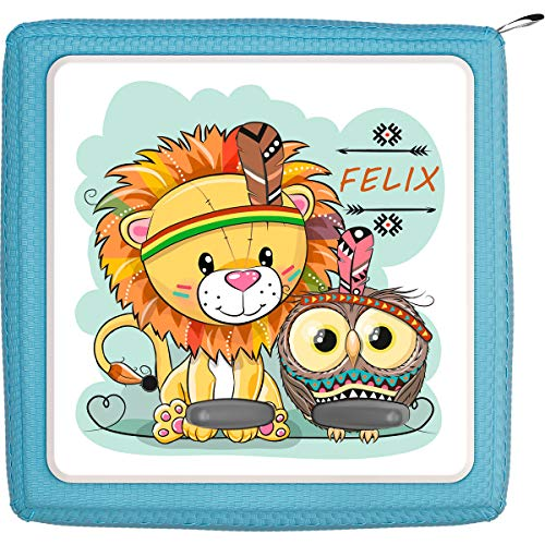 Coverlounge Schutzfolie passend für die Toniebox | Folie Sticker | Kleiner Löwe mit Eule als Indianer Verkleidet mit Name personalisiert