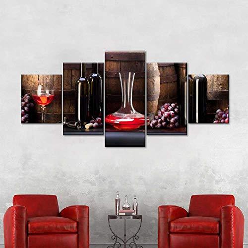 AWER 5 piezas de lienzo de arte de pared - Arte de Pared - Vino de reserva - Cuadros de Lienzo nórdico - 5 Piezas Lona Murales Cuadro - Impresión en Lienzo - Enmarcado