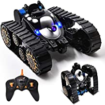 New Military RC Tank Toy as Xmas Gifts,High-Speed Racing Stunt Car with Music LED Light,2.4Ghz Remote Control Tracked Off Road Vehicle,Rechargeable Robot Buggy 360°All Terrain Climbing for Boys Girls