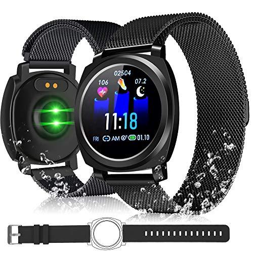 XREXS Smartwatch, 3,3CM Einzelner Touchscreen Fitness Armband Uhr, Fitness Uhr IP67 Wasserdicht Fitness Tracker Smartwatch mit Blutdruckmessgerät, Schlafmonitor, Pulsuhren für Damen Herren