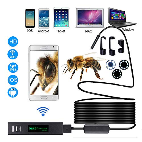 ANDE 1200P USB WIFI Borescope Waterdichte IP68 met 10M Semi-rigide kabel, compatibel met IOS, Android, Windows