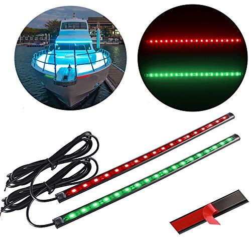 ALLOMN Luz de Navegación para Barco, 1 par 1.5W 12V 18 LED Lámpara de Navegación Yacht Barco Luz Rojo Verde Luz Marina IP65 Impermeable, Adhesivo Fuerte de Doble Cara, 32 cm