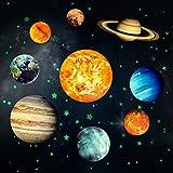 Yosemy Adesivi da Parete Fluorescenti 9 Pianeta 4 Stelle Fluorescenti Sistema Solare Decorazione Adesivo Murali Sticker da Muro per la Casa Camera da Letto Cameretta Finestra Soggiorno