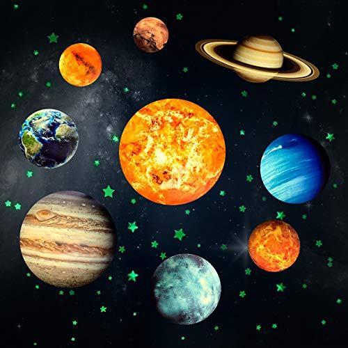 Yosemy Luminoso Pegatinas de Pared 9 Planetas Estrellas Pegatinas Luminoso para Niños Infantil Sistema Solar Fluorescente Adhesivos Decoración para Dormitorio