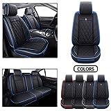 5 Car Seat Covers Full Set Waterproof Leather Automotive Cushions Split Bench 40/60 Universal for Toyota Highlander Corolla Prius Camry Rav4 Lexus Acura Mdx (Full Set, Black-Blue)