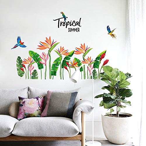 VCTQR Muursticker Tropische groene bladeren Vogels van het paradijs bloem muur stickers thuis tuin decor woonkamer bank achtergrond zelfklevende stickers