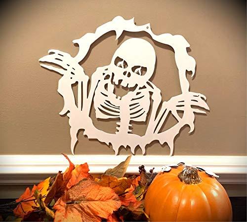 Meg121ace Weerbestendige Herfst Halloween Skeleton House Sign, Monogrammed Kran, Deur Monogram, Voordeur, Aangepaste naambord, Metalen Letters