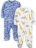 Simple Joys by Carter's Boys' 2-Pack Fleece Footed Sleep and Play, Alligator/Giraffe, 3-6 Months