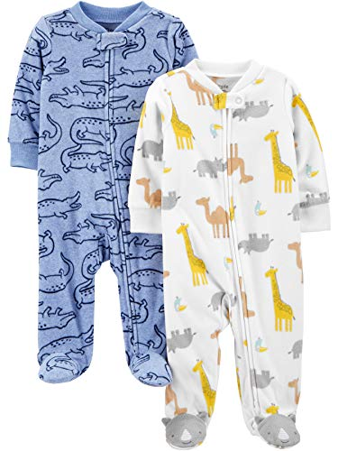 Simple Joys by Carter's 2-Pack Fleece Footed Sleep and Play Infant Toddler-Sleepers, Cocodrilo/Jirafa, 3-6 Meses, Pack de 2