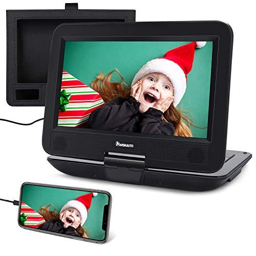 NAVISKAUTO lettore dvd portatile per auto e casa, per bambini, da 10,1 pollici,supporta HDMI USB TF AV IN OUT, region free, 18 mesi di garanzia