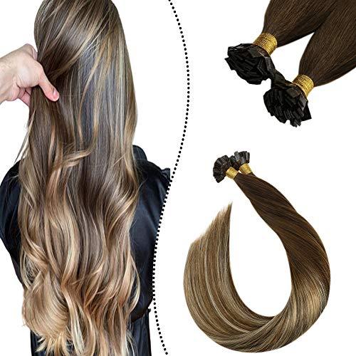 Ugeat Bonding in Flat Tip Extension Echthaar Strahnen 1G 50S Keratin Fusion Glue on Hair Remy 100% Brasilianer Tips Dunkelbraun bis Mittelbraun und Bleichblond #4/6/613 14Zoll