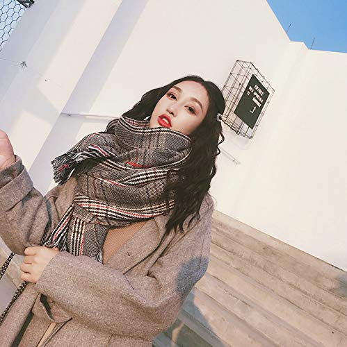 Gunchkb sjaal voor Pied de Poule in Britse stijl, voor dames, van dik kasjmier, klassiek, winter, dubbel bruikbaar