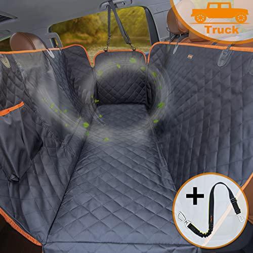 iBuddy Dog Car Seat Covers for Back Seat Cars/Trucks/SUV, Waterproof Dog Car Hammock Mesh Window Side Flaps, Durable Anti-Scratch Machine Washable Pet Car Seat Cover (Truck, Black)
