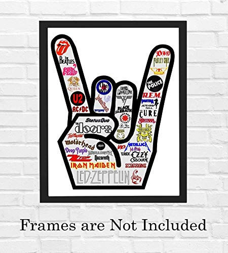 "Iconic Rock Bands Logo Poster Print-8 x 10"" Rock Hand Sign-Ready To Frame. Vintage Rock Band Wall Art for Home-Office-Studio-Bar-Dorm-Cave Decor. Perfect Display for All Rock Fan Collections!"