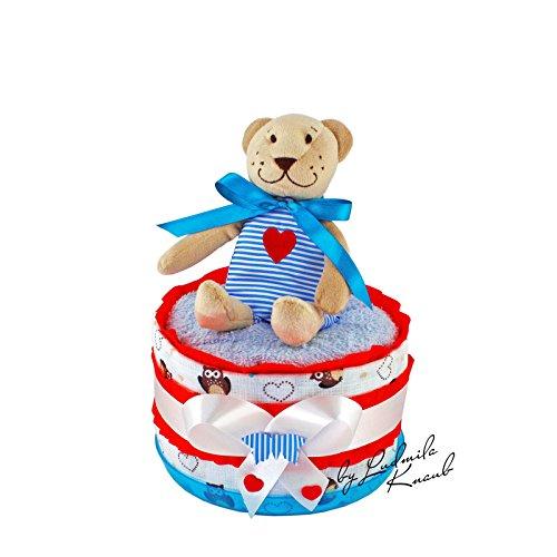 MomsStory - mini Windeltorte Junge   Teddy-Bär   Baby-Geschenk zur Geburt Taufe Babyshower   1 Stöckig (Rot-Blau) mit Plüschtier