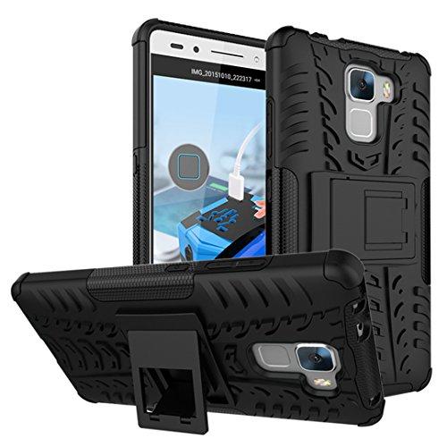 Huawei Honor 7 Handy Tasche, Hülle Abdeckung Cover schutzhülle Tough Strong Rugged Shock Proof Heavy Duty Case für Huawei Honor 7 (Schwarz)