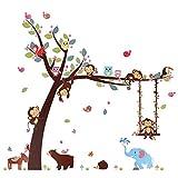 Kesote Cartoon Singe Arbre Jungle Animaux Thème Wall Art Sticker Autocollant Mural...