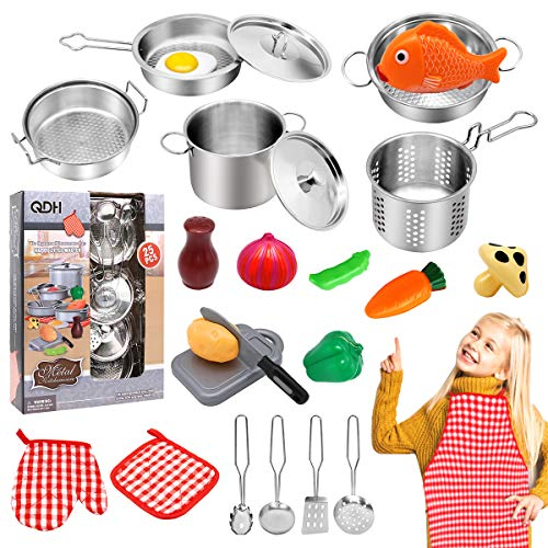 QDH Play Kitchen Accessories Kids Kitchen Pretend Play Toys with Stainless Steel Cookware Pots and Pans Set for Toddlers Cooking Utensils Apron and...