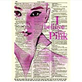 Lanruru Audrey Hepburn I Believe in Pink Wall Art Posters and Prints Newspaper Room Decoration Painting Wall -20x28 Inch No Frame