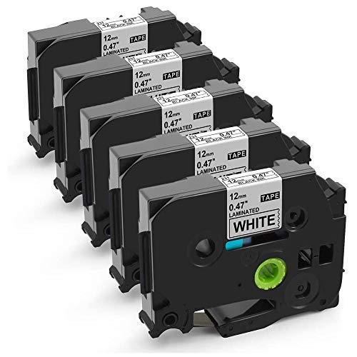 MarkDomain kompatibel Schriftband als Ersatz für Brother TZe-231 TZe231 12mm 0.47 Laminiert Schriftband Schwarz auf Weiß, TZe Bänder für Beschriftungsgerät H100R H101C H105 1010 D400, 5er-Pack