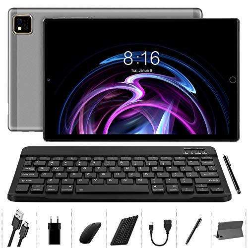 Tablet 10 pollici Android 10.0 - YUMKEM Tablet 4GB RAM 64GB ROM con 8 Core 1.6 GHz | WiFi | Bluetooth | GPS | MicroSD 4-128 GB, con Tastiera Mouse Custodia per Tablet - Grigio