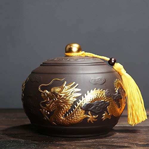 LINGS Ceramic Cremation Urns for Human Ashes or Pet Ashes,Keepsake Memorial Burial Funeral Urn,Dragon Pattern Two Colors,Purple