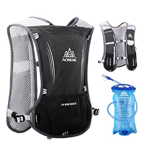 JEELAD 5L Running Hydration Vest Hydration Backpack for Marathon Jogging Biking Cycling (Black (5L) - with 1.5L Water Bladder)