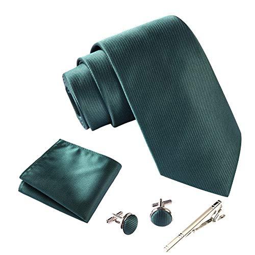 Massi Morino ® Herren Krawatte Set mit umfangreicher Geschenkbox grün grüne dunkelgrüne dunkelgrünekrawatte krawattedunkelgrün tannengrün flaschengrün grasgrün