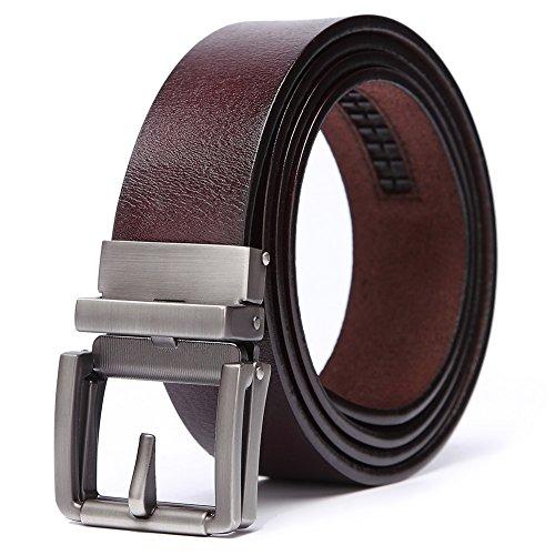 teemzone Gürtel Herren Braun Leder 35mm Automatik Ledergürtel Herrengürtel aus Vollrindleder mit Automatikschließe (bis zu EU 95)