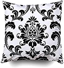 Pamime Square Throw Damask Floral Pattern Royal Flowers Black White Background a Pillow Case Cover Decorative Cushion for Home 20X20Inches(50X50cm) Pillowcase