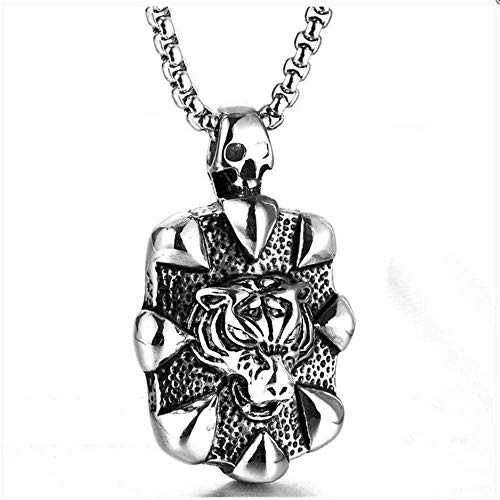 NC110 Men's and Women's Necklace Pendant GiftsNecklace Vintage Titanium Steel Tiger Head Vintage Necklace Tide Male Dineering Casting Tiger Head Pendant YUAHJIGE