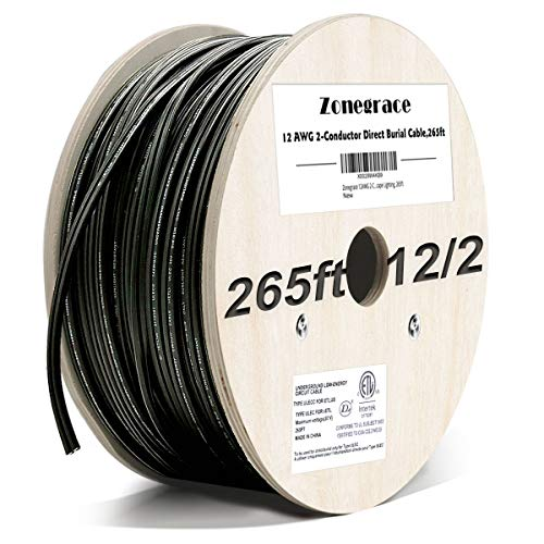 Zonegrace 12AWG 2-Conductor 12/2 Direct Burial Wire for Low Voltage Landscape Lighting, 265ft