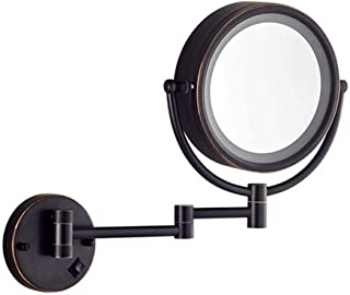 Home Vanity Mirror Dressing Table Makeup Mirror Wall Mounted LED Illuminated Bathroom 3X Magnification Double-Sided 360&deg Swivel Extendable Mirrors
