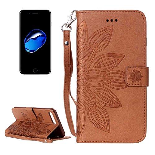 DELANSHI mobiele telefoon ontworpen voor IPhone 7 Back Case, Crazy Paard Textuur Half Bloem afdrukken Horizontale Flip Leer Schokbestendige Beschermende Hoes, met Houder & Card Slots & Portemonnee & Lanyard Back Ze, BRON